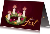 Weihnachtskarte mit Adventskranz klassisch