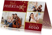 Weihnachtskarte mit drei Fotos, Konfetti und Stern