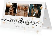 Weihnachtskarte mit drei Fotos, Sternen und merry christmas