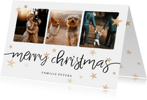 Weihnachtskarte mit drei Fotos, Sternen und merry chritmas