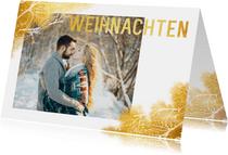 Weihnachtskarte mit Foto und goldenen Blättern