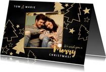 Weihnachtskarte mit Foto und goldenen Tannenbäumen
