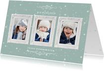 Weihnachtskarte mit Fotos in Bilderrahmen