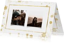 Weihnachtskarte mit Fotos und goldenen Schneeflocken