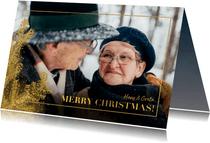 Weihnachtskarte mit großem Foto und goldenen Tannenzweigen