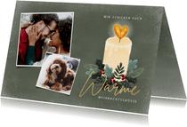 Weihnachtskarte mit Kerze und Fotos