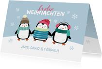 Weihnachtskarte Pinguine im Schnee
