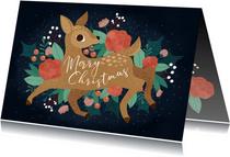 Weihnachtskarte Reh 'Merry Christmas'