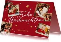 Weihnachtskarte rot mit Fotocollage