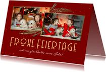 Weihnachtskarte Rottöne mit Fotos und Zweigen