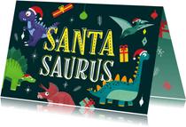 Weihnachtskarte 'Santasaurus' mit Dinosauriern