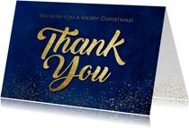 Weihnachtskarte 'Thank You' Goldoptik