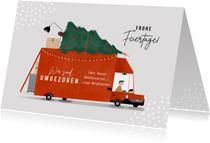 Weihnachtskarte Umzug mit Lastwagen & Weihnachtsbaum