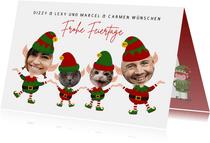 Weihnachtskarte Vier Weihnachtszwerge