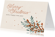 Weihnachtskarte Weihnachtszweige & Sternchen