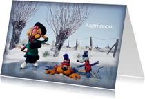 Kerstkaarten - Wenskaart Loeki op de schaats -A
