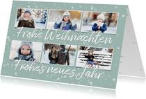 Winterliche Weihnachtskarte 6 Fotos und Sterne