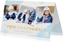 Winterse fotocollage kerstkaart met sneeuwvlokken en foto's