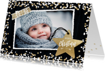 Winterse kerstkaart met foto en label