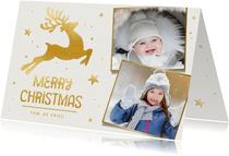Winterse kerstkaart met gouden rendier en eigen foto's