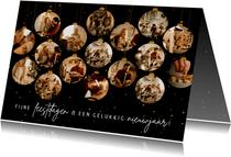 Zakelijk kerstkaartje met 16 kerstballen met foto's