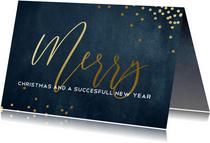 Zakelijke kerstkaart blauw met goud Merry Christmas