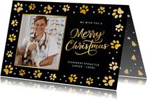 Zakelijke kerstkaart dierverzorging met gouden pootafdrukjes