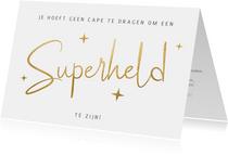 Zakelijke kerstkaart en bedankkaartje medewerkers superheld