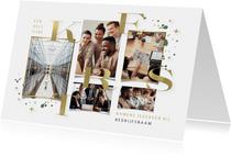Zakelijke kerstkaart fotokaart gouden typografie kerst