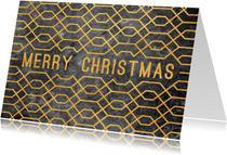 Zakelijke kerstkaart geometrisch met beton en goudlook
