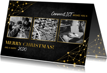 Zakelijke kerstkaart ICT gouden typografie en netwerk