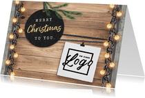 Zakelijke kerstkaart industrieel lampjes logo foto's