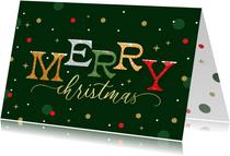 Zakelijke kerstkaart Merry Christmas typografisch confetti