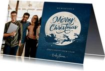 Zakelijke kerstkaart met eigen foto en kerstman in arrenslee