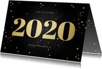 Zakelijke kerstkaart met gouden 2020 en sterren