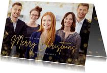 Zakelijke kerstkaart met grote foto en gouden confetti kader