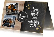 Zakelijke kerstkaart met hout, krijtbord, foto's en logo