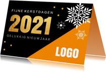 Zakelijke kerstkaart oranje zwart 2021 goudlook