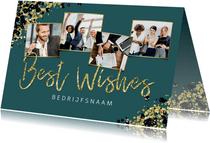 Zakelijke kerstkaart stijlvol goud fotocollage best wishes