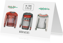 Zakelijke kerstkaart warm wishes met logo