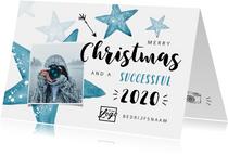 Zakelijke kerstkaart winter sterren foto logo blauw