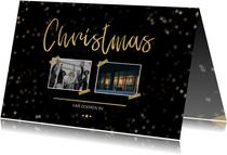 Zakelijke kerstkaart zwart voor 2 foto's en goud