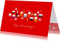 Zakelijke kerstkaarten - Huisjes met kerstboompjes