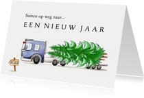 zakelijke kerstkaarten vrachtwagen met kerstboom