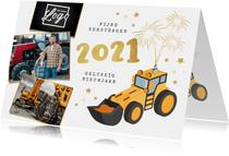Zakelijke nieuwjaarskaart graafmachine bouw 2021 vuurwerk