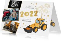 Zakelijke nieuwjaarskaart graafmachine bouw 2022 vuurwerk