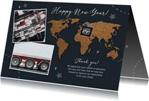 Zakelijke nieuwjaarskaart internationaal kurk wereldkaart
