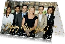 Zakelijke nieuwjaarskaart met grote foto en confetti