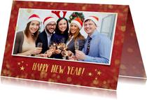 Zakelijke nieuwjaarskaart rood met goudlook confetti