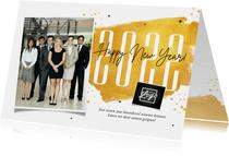Zakelijke nieuwjaarskaart stijlvol goud sterren 2021